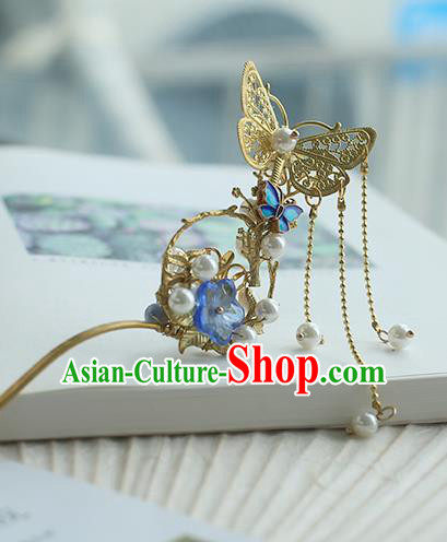 Chinese Ancient Hanfu Handmade Golden Butterfly Hairpins Hair Stick Hair Accessories for Women