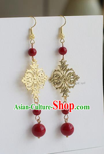 Ancient Chinese Handmade Hanfu Earrings Accessories Golden Eardrop for Women