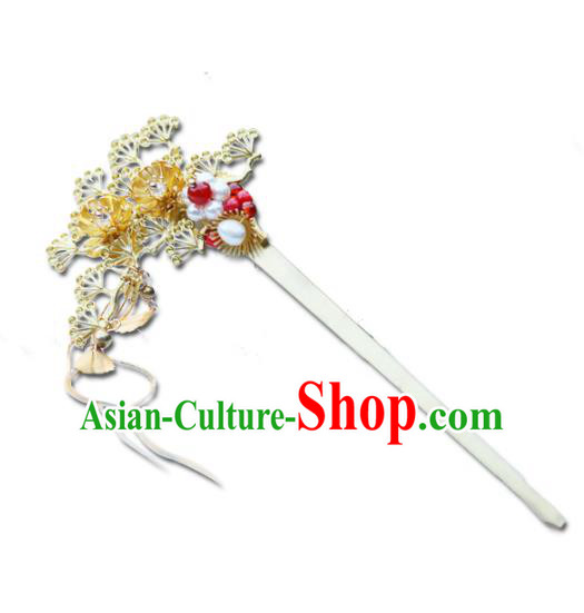 Chinese Ancient Hanfu Handmade Hairpins Golden Hair Clip Hair Accessories for Women