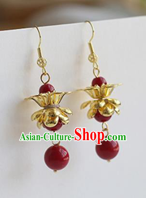 Ancient Chinese Handmade Hanfu Earrings Accessories Red Beads Eardrop for Women
