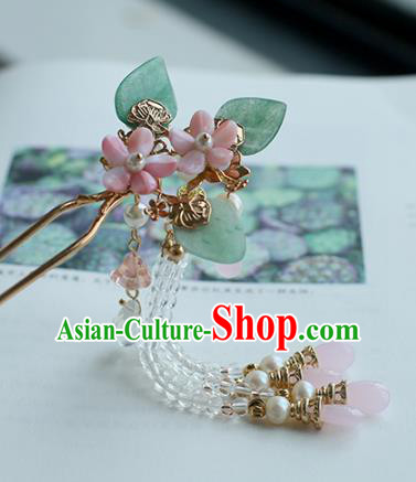 Chinese Ancient Hanfu Handmade Hairpins Pink Flowers Hair Clip Hair Accessories for Women