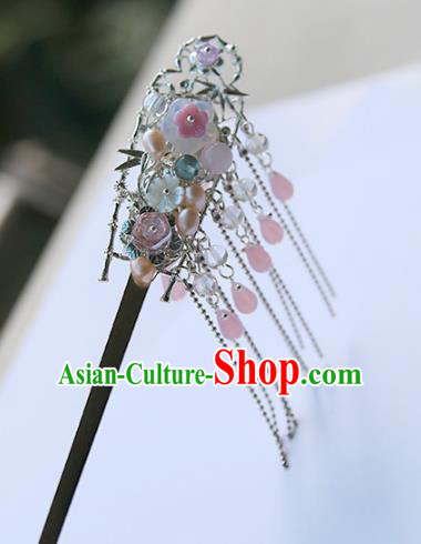 Chinese Ancient Hanfu Handmade Hairpins Pearls Hair Clips Tassel Shake Hair Accessories for Women