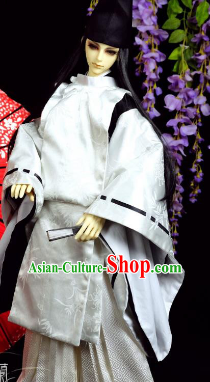 Traditional Asian Japan Costume Japanese Prince Kimono White Hunting Clothing for Men