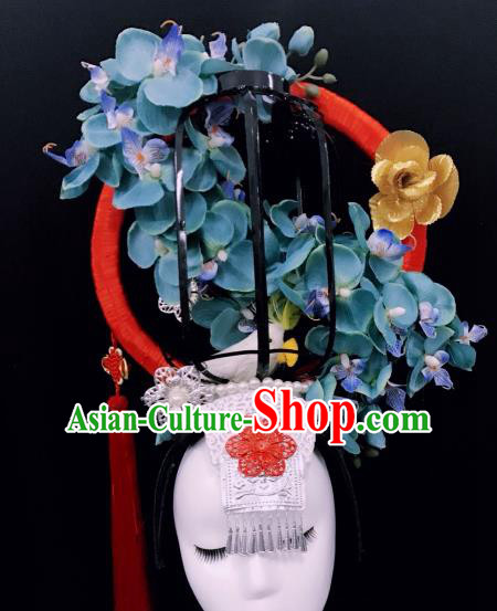 Top Grade China Blue Flowers Hair Accessories Halloween Stage Performance Deluxe Headwear for Women
