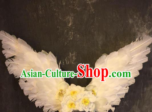 Top Grade White Feather Deluxe Hair Accessories Headdress Halloween Stage Performance Headwear for Women
