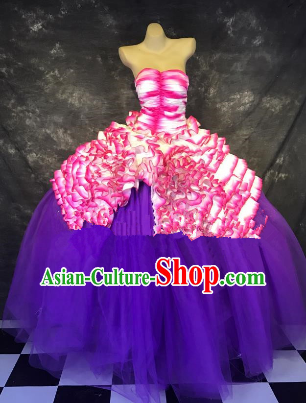 Top Grade Stage Performance Catwalks Costume Purple Bubble Dress Full Dress for Women