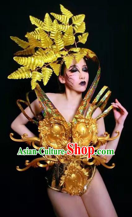 Top Grade Stage Performance Catwalks Costume Halloween Brazilian Carnival Golden Clothing for Women
