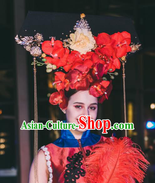 Top Grade China Hair Accessories Qing Dynasty Phoenix Coronet Stage Performance Palace Headdress for Women