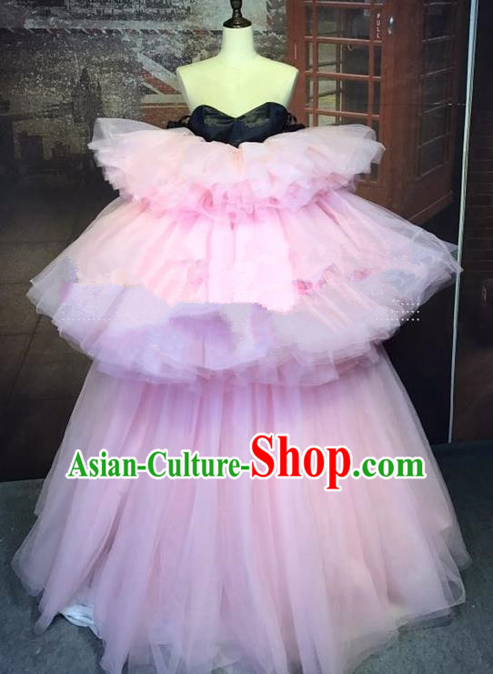 Top Grade Stage Performance Catwalks Costume Wedding Full Dress Pink Veil Bubble Dress for Women