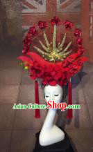 Top Grade China Ancient Qing Dynasty Red Headwear Hair Accessories Stage Performance Headdress for Women