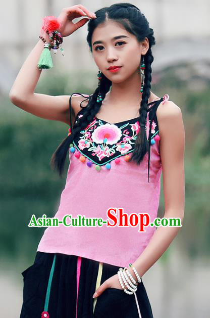 Traditional China National Costume Tang Suit Pink Camisole Chinese Embroidered Stomachers Vests for Women