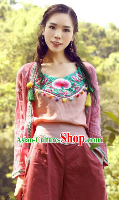Traditional China National Costume Tang Suit Camisole Chinese Embroidered Stomachers Vests for Women