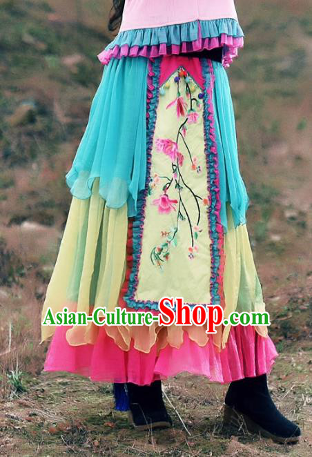Traditional China National Costume Bust Skirt Chinese Tang Suit Embroidered Peach Blossom Dress for Women