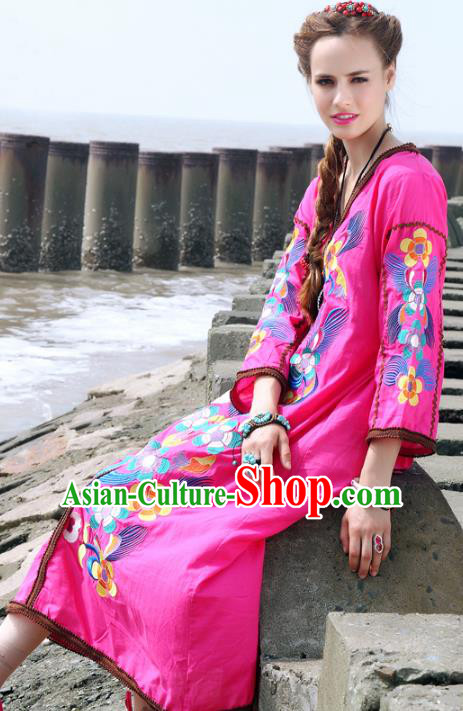 Traditional China National Costume Pink Dress Chinese Tang Suit Embroidered Dresses for Women