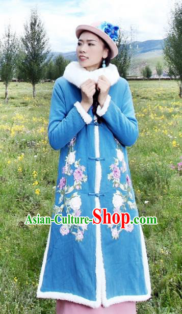 Traditional China National Costume Chinese Tang Suit Embroidered Blue Dust Coats for Women