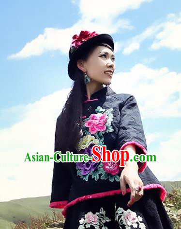 Traditional China National Black Cheongsam Shirts Costume Chinese Tang Suit Embroidered Blouse for Women