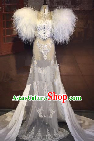Top Grade Stage Performance Costume Modern Dance White Lace Dress Catwalks Full Dress for Women