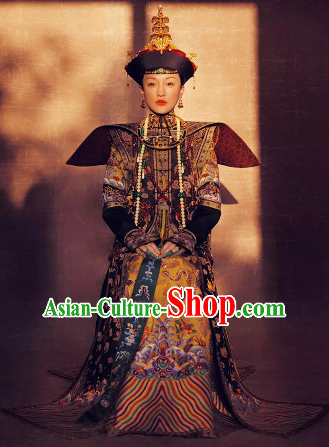 Qing Dynasty Empress Imperial Clothing Embroidered Long Robe Dresses