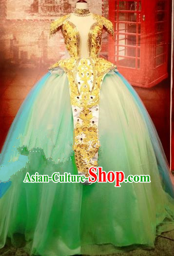 Top Grade Stage Performance Costume Modern Dance Green Bubble Dress Catwalks Full Dress for Women