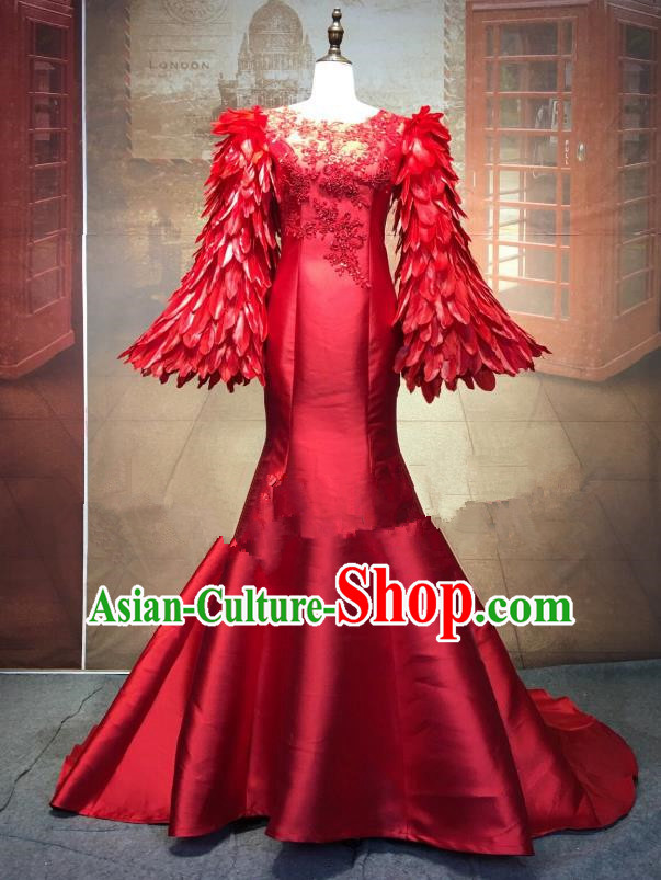 Top Grade Stage Performance Costume Modern Dance Cheongsam Catwalks Red Feather Full Dress for Women