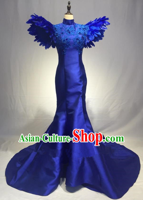Top Grade Stage Performance Costume Modern Dance Mullet Dress Catwalks Blue Full Dress for Women