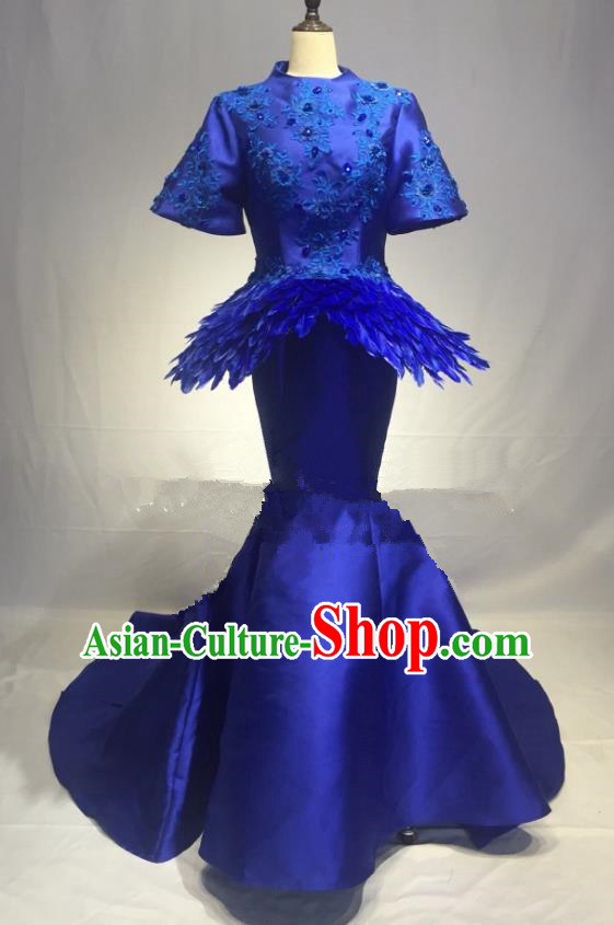 Top Grade Stage Performance Costume Modern Dance Dress Catwalks Blue Full Dress for Women
