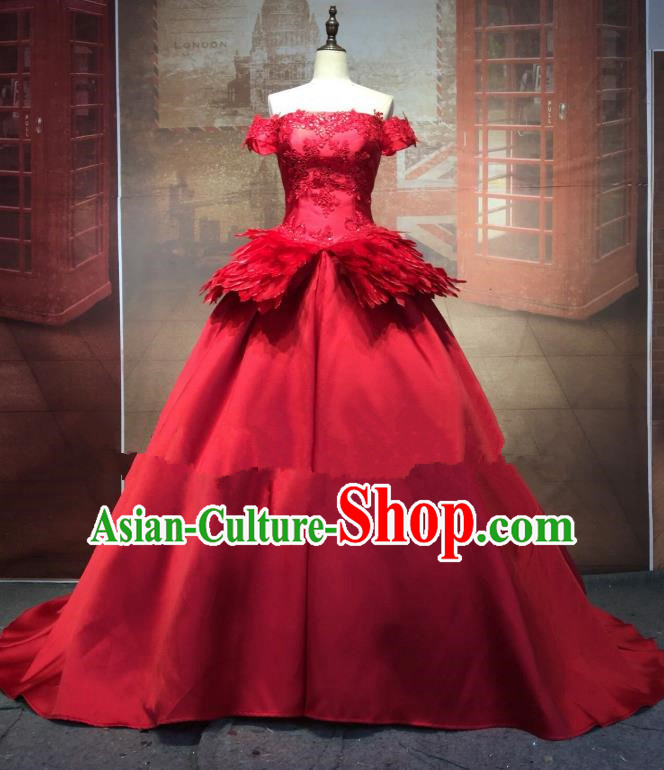 Top Grade Stage Performance Costume Modern Dance Red Wedding Dress Catwalks Full Dress for Women