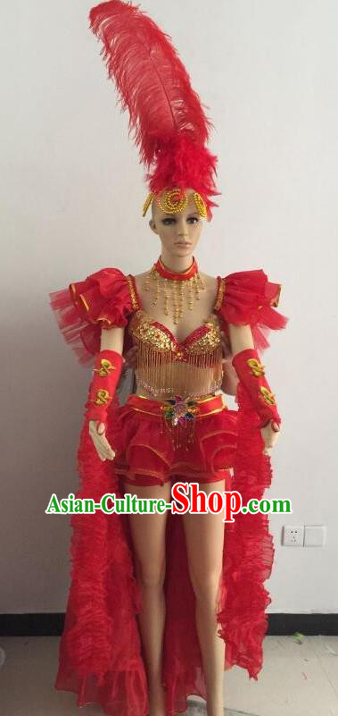 Top Grade Catwalks Red Feather Costume Brazilian Carnival Samba Dance Bikini Clothing and Headdress for Women