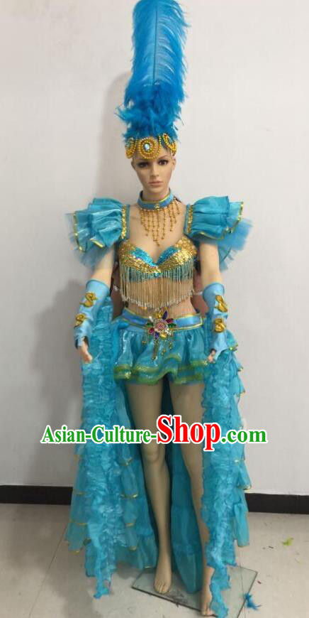 Top Grade Catwalks Blue Feather Costume Brazilian Carnival Samba Dance Bikini Clothing and Headdress for Women
