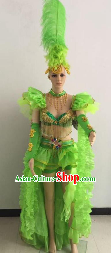 Top Grade Catwalks Green Feather Costume Brazilian Carnival Samba Dance Bikini Clothing and Headdress for Women