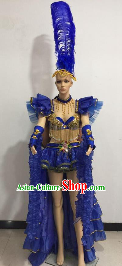 Top Grade Catwalks Royalblue Feather Costume Brazilian Carnival Samba Dance Bikini Clothing and Headdress for Women