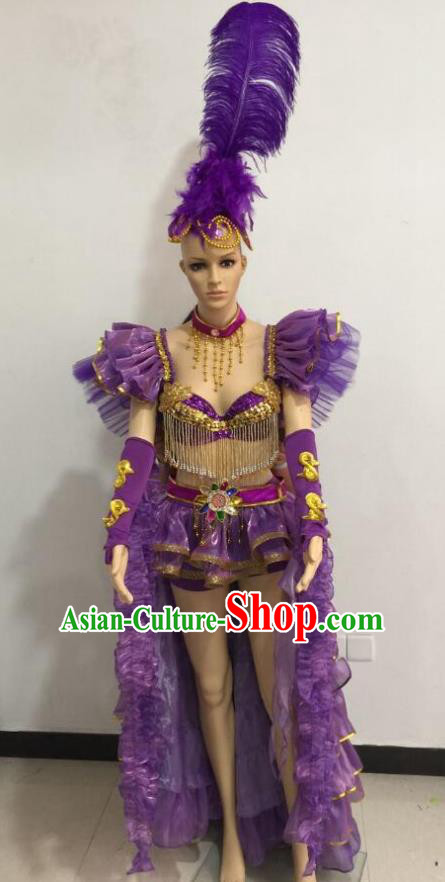 Top Grade Catwalks Purple Feather Costume Brazilian Carnival Samba Dance Bikini Clothing and Headdress for Women