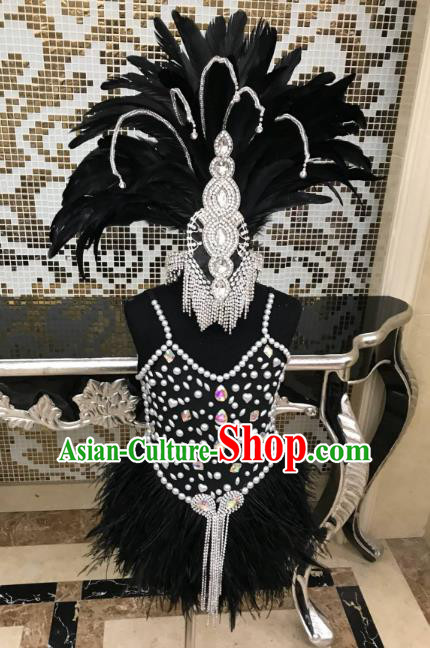 Top Grade Children Stage Performance Costume Catwalks Black Feather Bikini Dress and Headwear for Kids