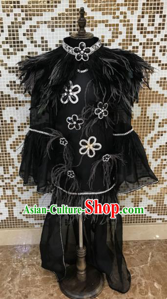Top Grade Children Stage Performance Costume Catwalks Black Feather Bikini Dress for Kids