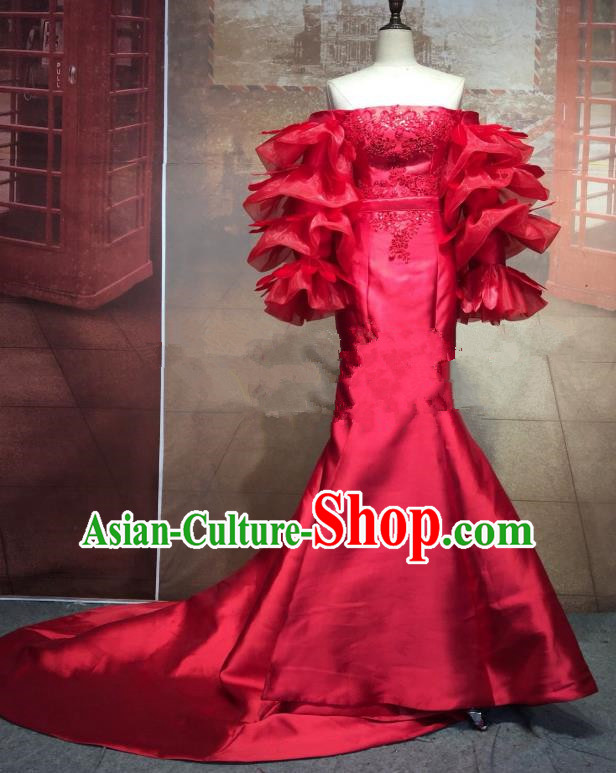 Top Grade Stage Performance Costume Modern Dance Mullet Dress Catwalks Full Dress for Women