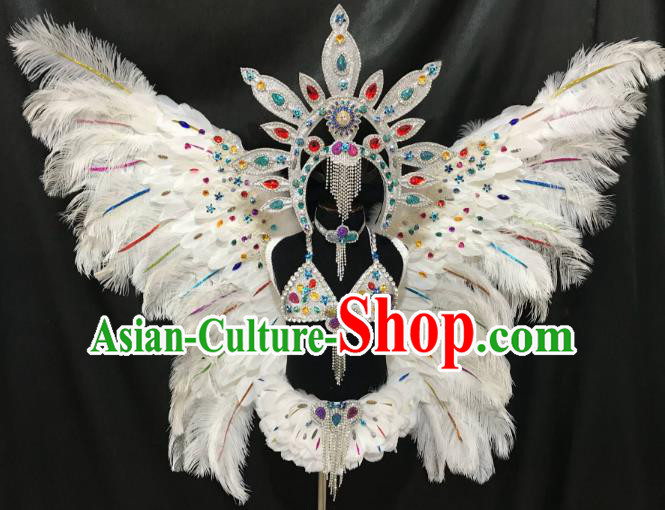 Top Grade Children Stage Performance Costume Catwalks White Butterfly Feather Wings Bikini and Headwear for Kids