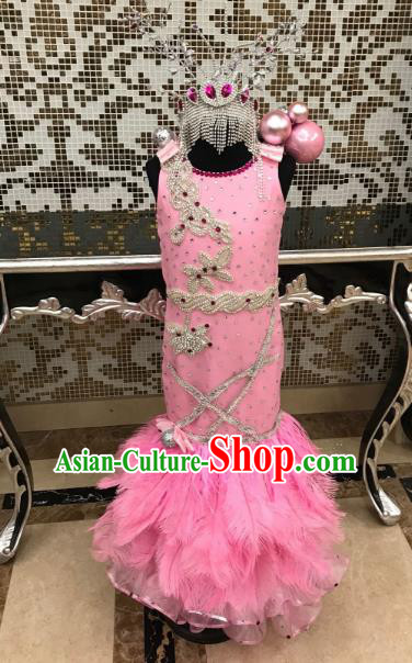 Top Grade Children Stage Performance Costume Catwalks Pink Dress and Headwear for Kids