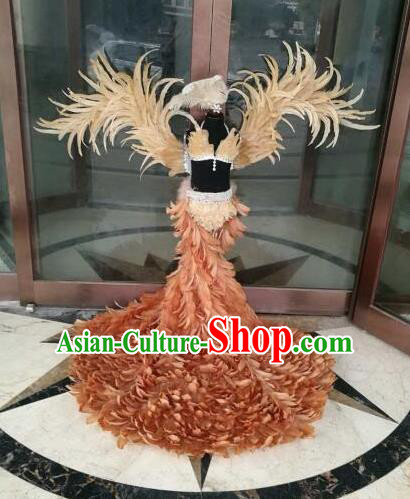 Top Grade Children Stage Performance Costume Modern Dance Brown Feather Bikini Dress and Wings for Kids