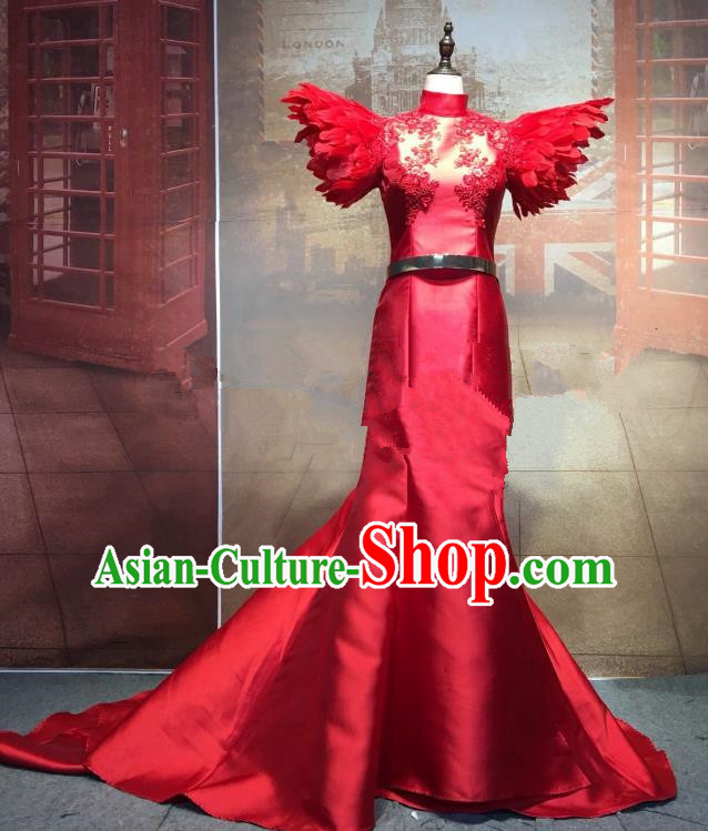 Top Grade Stage Performance Costume Cheongsam Dress Catwalks Red Full Dress for Women