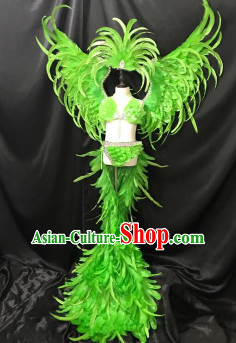 Top Grade Children Stage Performance Costume Catwalks Green Feather Bikini Dress with Wings for Kids