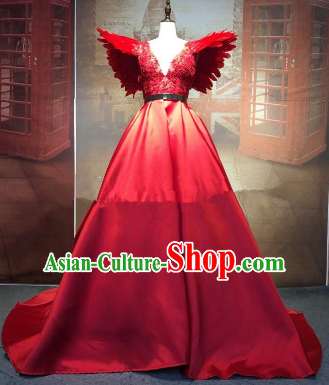 Top Grade Stage Performance Costume Wedding Dress Catwalks Red Full Dress for Women