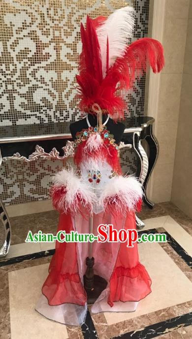 Top Grade Children Stage Performance Costume Catwalks Bikini Dress and Red Feather Headdress for Kids