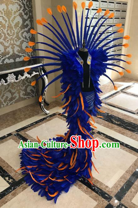 Top Grade Children Stage Performance Costume Catwalks Bikini Mullet Dress and Blue Feather Wings for Kids