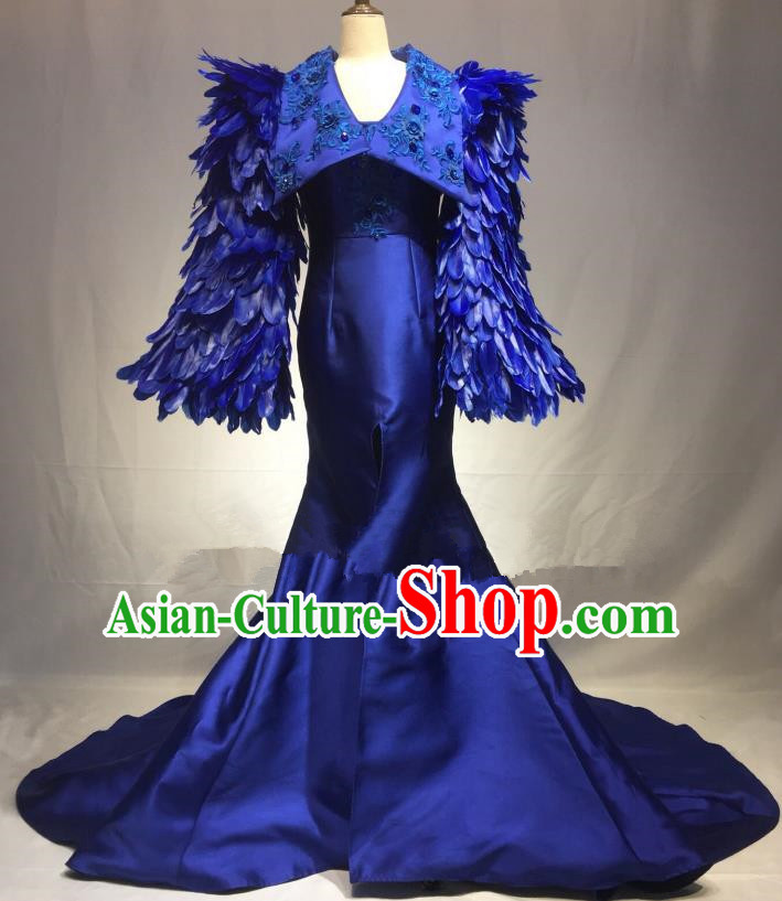 Top Grade Stage Performance Costume Blue Feather Mermaid Dress Catwalks Full Dress for Women