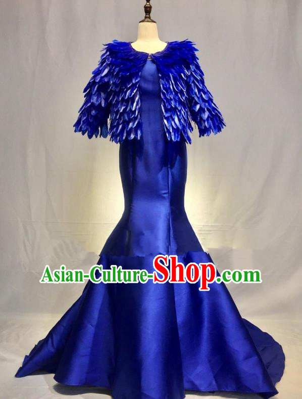 Top Grade Stage Performance Costume Modern Dance Blue Feather Mermaid Dress Catwalks Full Dress for Women