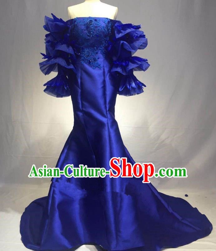 Top Grade Stage Performance Costume Modern Dance Blue Strapless Dress Catwalks Full Dress for Women