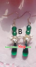 Traditional Chinese Ancient Jewellery Accessories Earrings Green Beads Eardrop for Women
