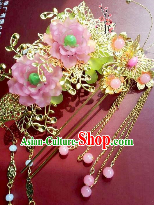 Traditional Chinese Ancient Hair Accessories Tassel Step Shake Hairpins Hair Jewellery Headwear for Women