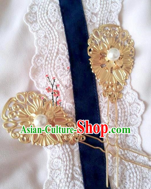 Traditional Chinese Ancient Hair Accessories Golden Hairpins Hair Stick for Women