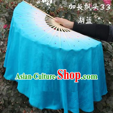 Top Grade Chinese Folk Dance Folding Fans Yangko Dance Blue Silk Ribbon Fan for Women
